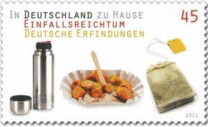 Currywurst auf einer deutschen Briefmarke von 2011