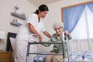 Elderly woman in nursing home
