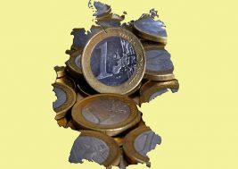 Deutschland, Bonn, 14.12.2011 Foto: Deutschlandkarte mit Euro-Münzen  | Germany, Bonn, 14.12.2011 Photo: Map of Germany with euro coins  | Copyright by: Sepp Spiegl, Tel.: 0228_9483026, Fax: 0228_9483027 { 53229 Bonn, An der Vogelweide 19, Deutsche Bank_Bonn, Kto: 3149671, Blz: 3807059}