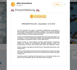 oBikes Twittermeldung